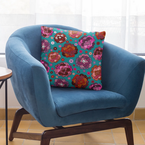 Abstract Floral Pattern Indoor Outdoor Accent Pillow