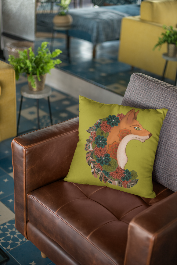Fox Forest Guardian Indoor Outdoor Accent Pillow
