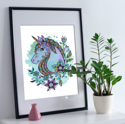 Unicorn metallic art print - Esdee Designs