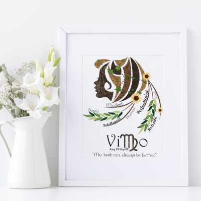 Virgo horoscope metallic art print - Esdee Designs
