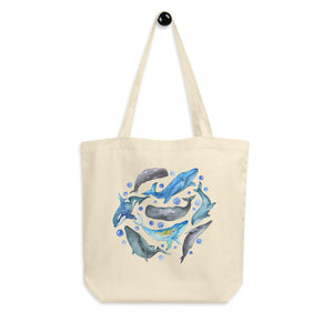 Watercolor Whales Organic Cotton Tote Bag