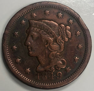 1849 Braided Hair Large Cent 1 Penny