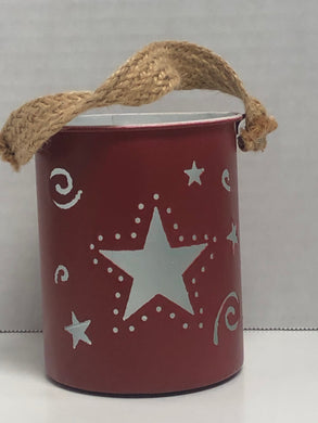 Home Decor Red Star Tin Holder