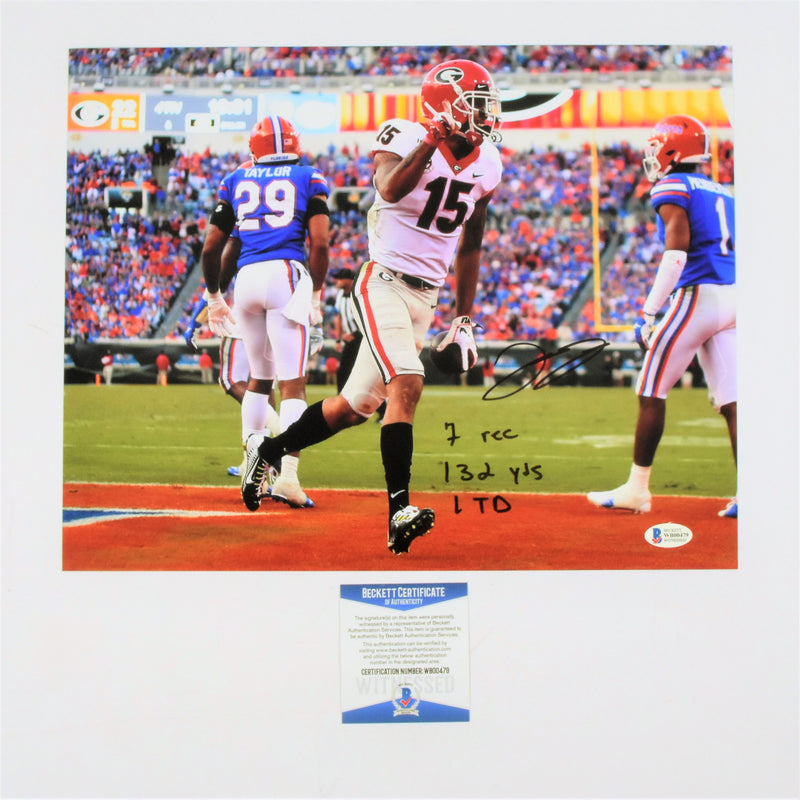 Lawrence Cager Signed 11x14 Photo Georgia Bulldogs Game Stats Inscribed