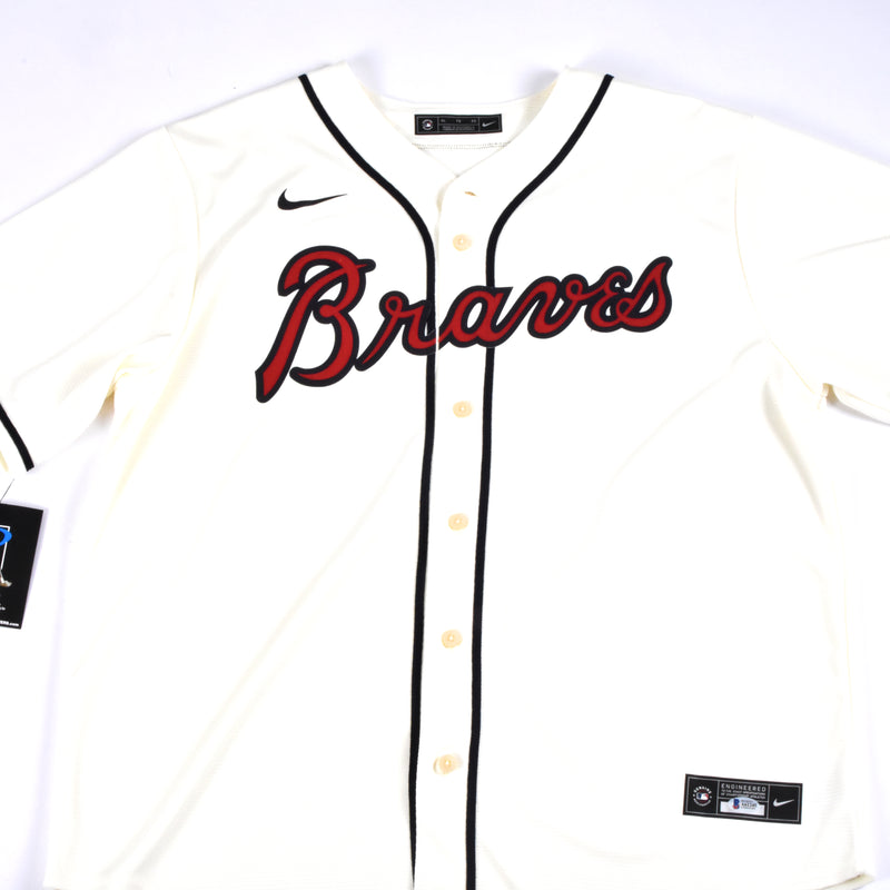 Ronald Acuna Jr. Signed Nike Atlanta Braves Jersey Multiple Inscriptions - Cream