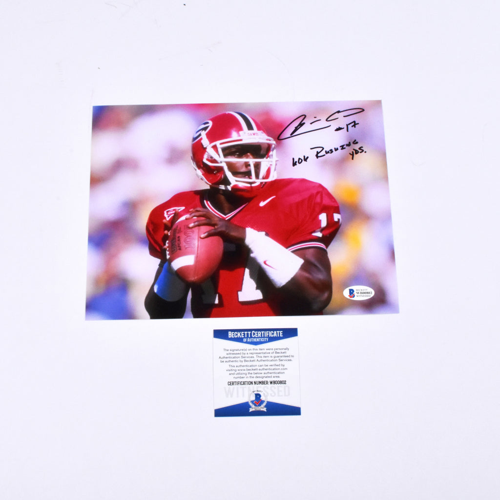 "Quincy Carter Signed 8x10 Georgia Bulldogs ""606 Rushing YDS"" Inscribed"