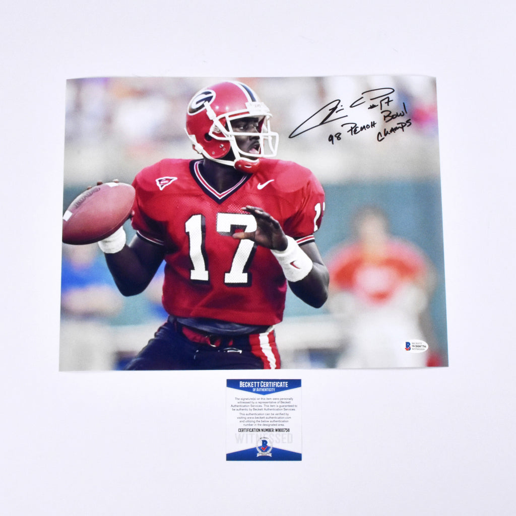 "Quincy Carter Signed 11x14 Georgia Bulldogs ""98 Peach Bowl Champs"" Inscribed"