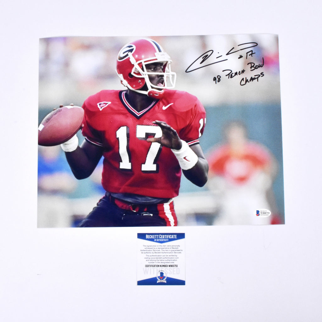 "Quincy Carter Signed 11x14 Georgia Bulldogs ""98 peach Bowl Champs"" Inscribed Photograph"