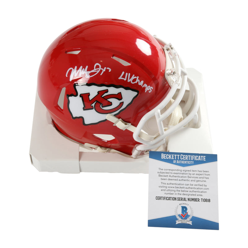 "Mecole Hardman Signed Kansas City Chiefs Mini Speed Helmet Inscribed ""LIV Champs"""