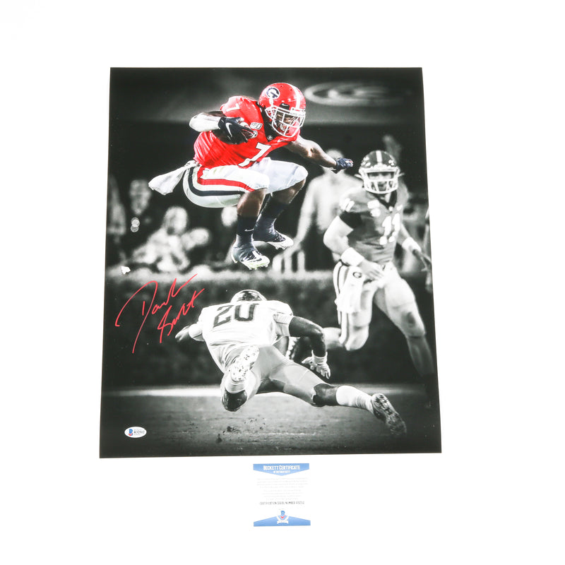 D'Andre Swift Signed 16x20 Leap Photo Georgia Bulldogs