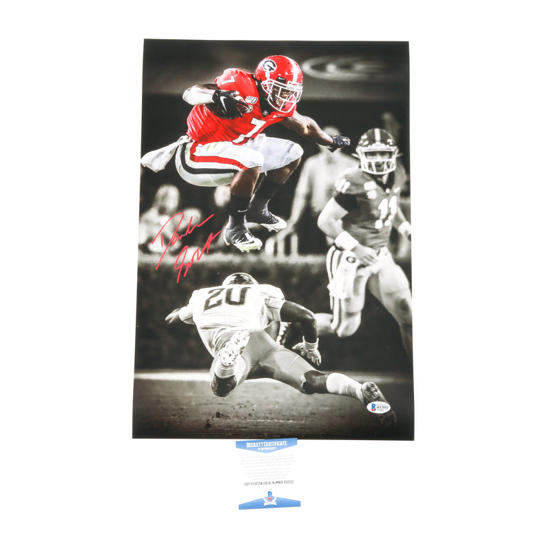 D'Andre Swift Signed 12x18 Leap Photo Georgia Bulldogs