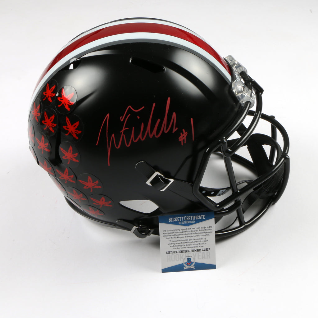 Justin Fields Signed Full Size Helmet Replica Ohio State Buckeyes