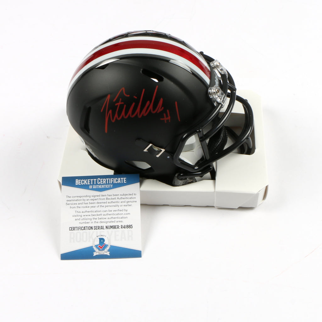 Justin Fields Signed Mini Helmet Helmet Eclipse Replica Ohio State Buckeyes