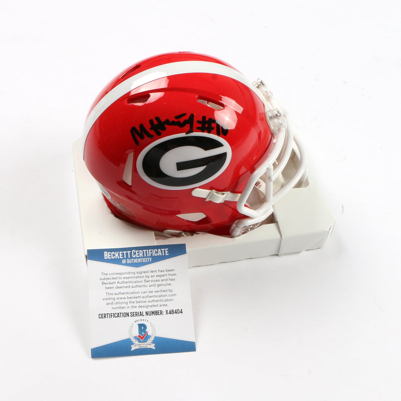Malik Herring Signed Georgia Bulldogs Mini Helmet