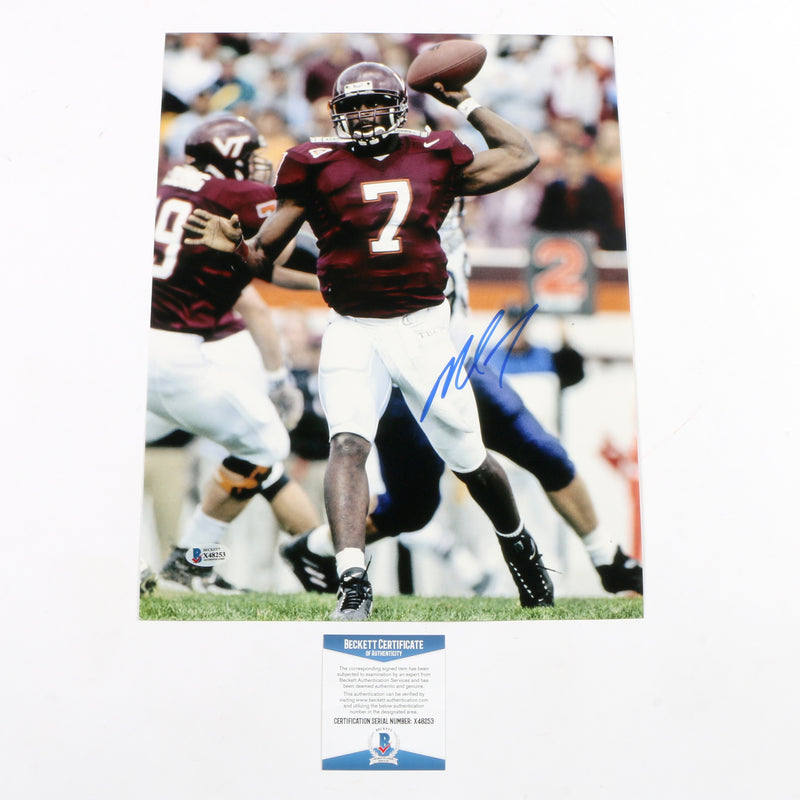 Michael Vick Signed 11x14 Photo Virginia Tech Hookies