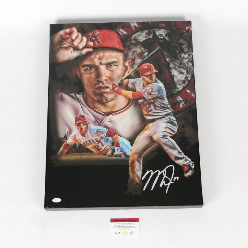 Mike Trout Signed 18x24 Canvas Los Angeles Angels