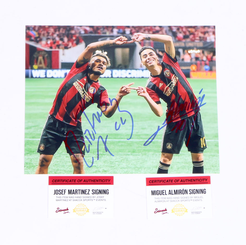 Josef Martinez and Miguel Almiron dual signed Atlanta United Fusion Red