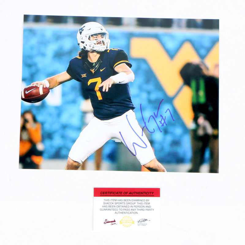 Will Grier Signed 8x10 Photo West Virginia Mountaineers Throwing
