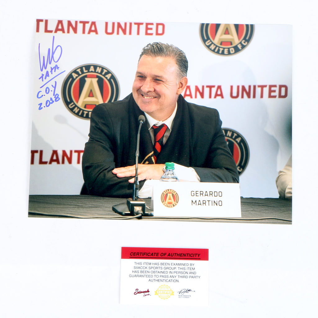 Tata Martino Signed 8x10 Coaching COY 18 Press Conference Atlanta United FC