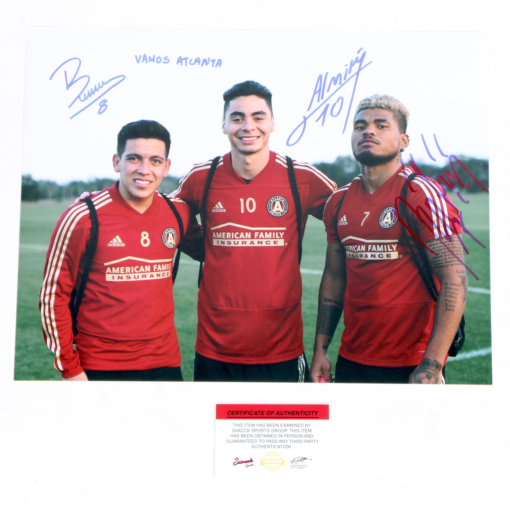 Josef Martinez and Miguel Almiron Ezquiel Barco dual signed 11x14 Atlanta United