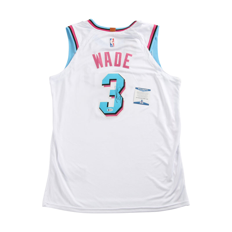 Dwayne Wade Signed Miami Heat Jersey White