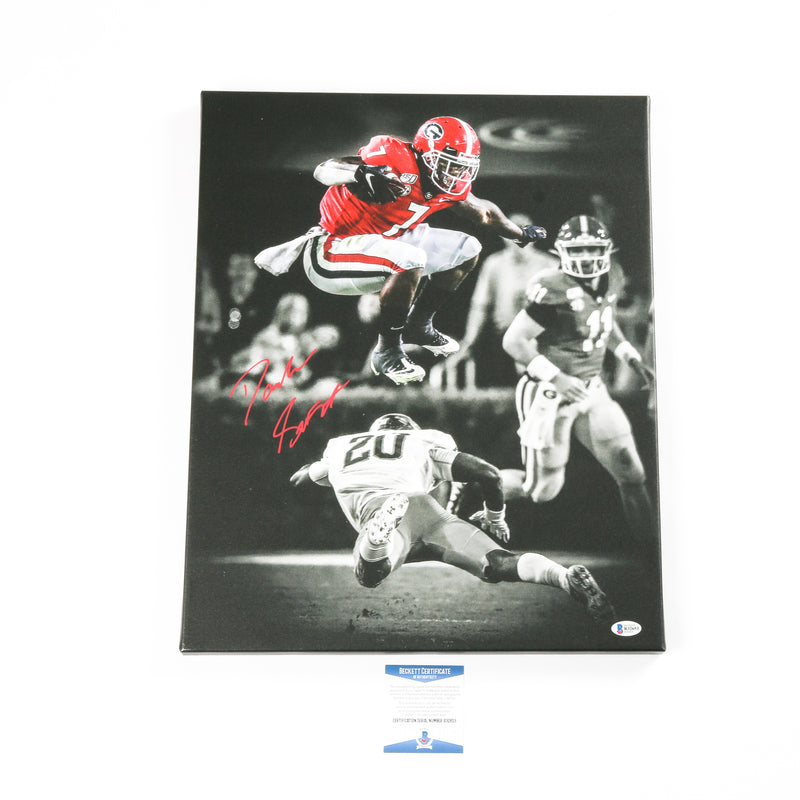 D'Andre Swift Signed 16x20 Leap Canvas Georgia Bulldogs