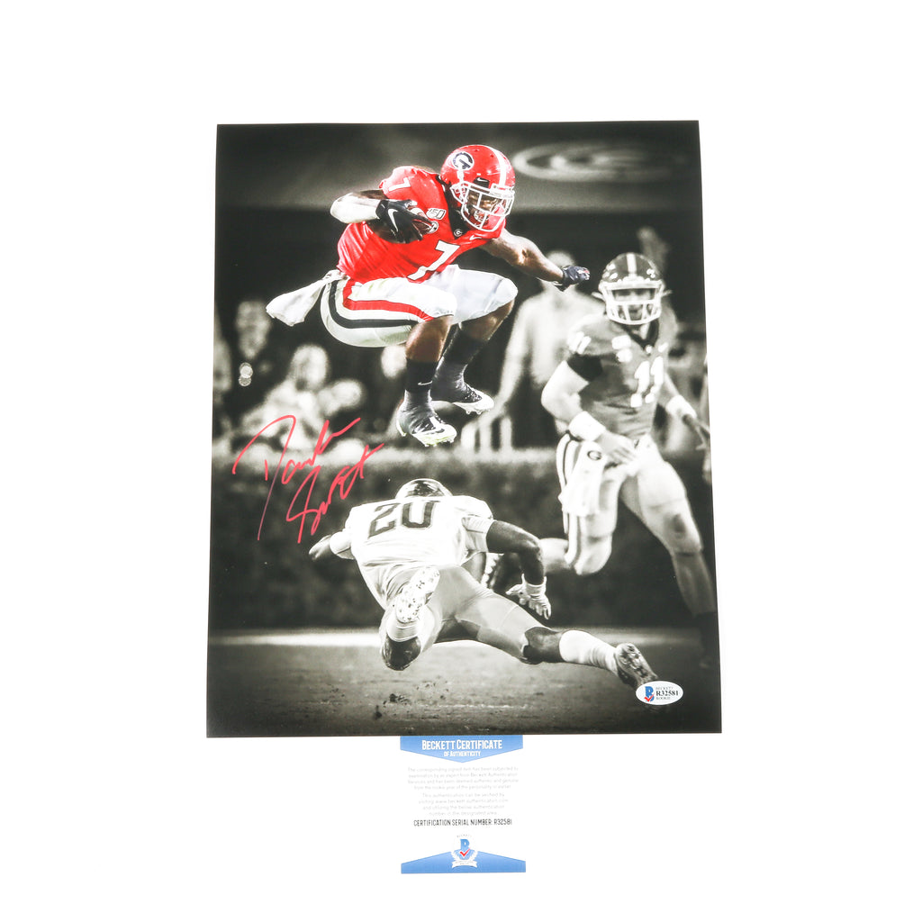 D'Andre Swift Signed 11x14 Leap Photo Georgia Bulldogs