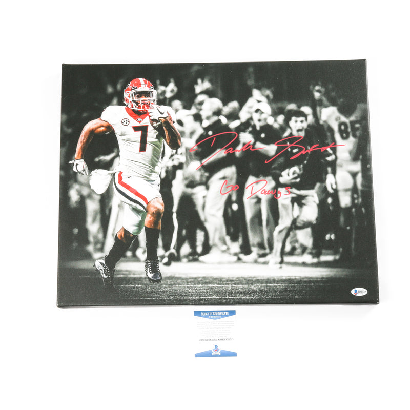 D'Andre Swift Signed 16x20 Canvas Georgia Bulldogs Go Dawgs