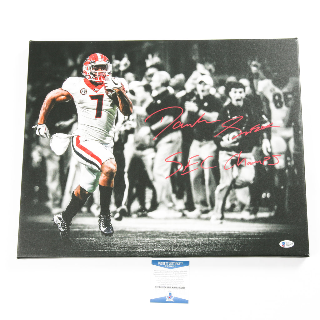D'Andre Swift Signed 16x20 Canvas Georgia Bulldogs SEC Champs