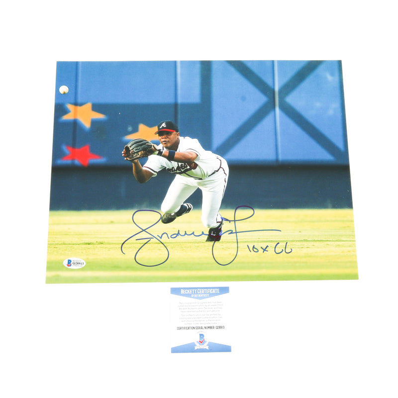 Andruw Jones Signed 11x14 Diving Atlanta Braves Inscribed