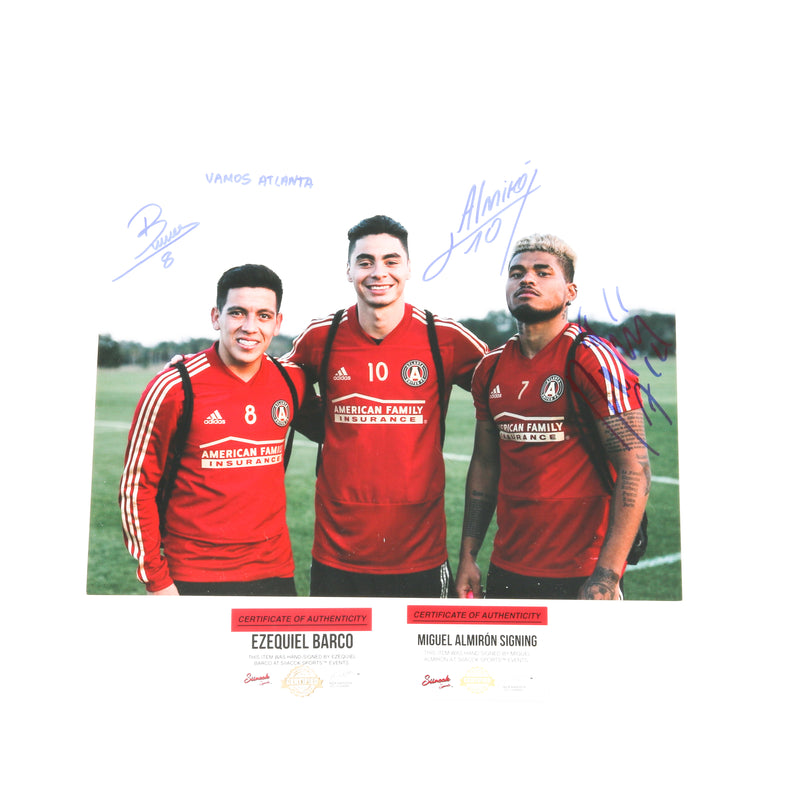 Josef Martinez and Miguel Almiron Ezquiel Barco dual signed 12x18 Atlanta United