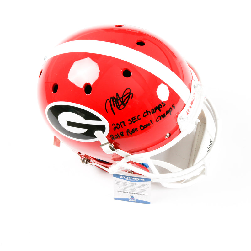 Mecole Hardman Signed Georgia Bulldogs Full Size Schutt Helmet Inscribed