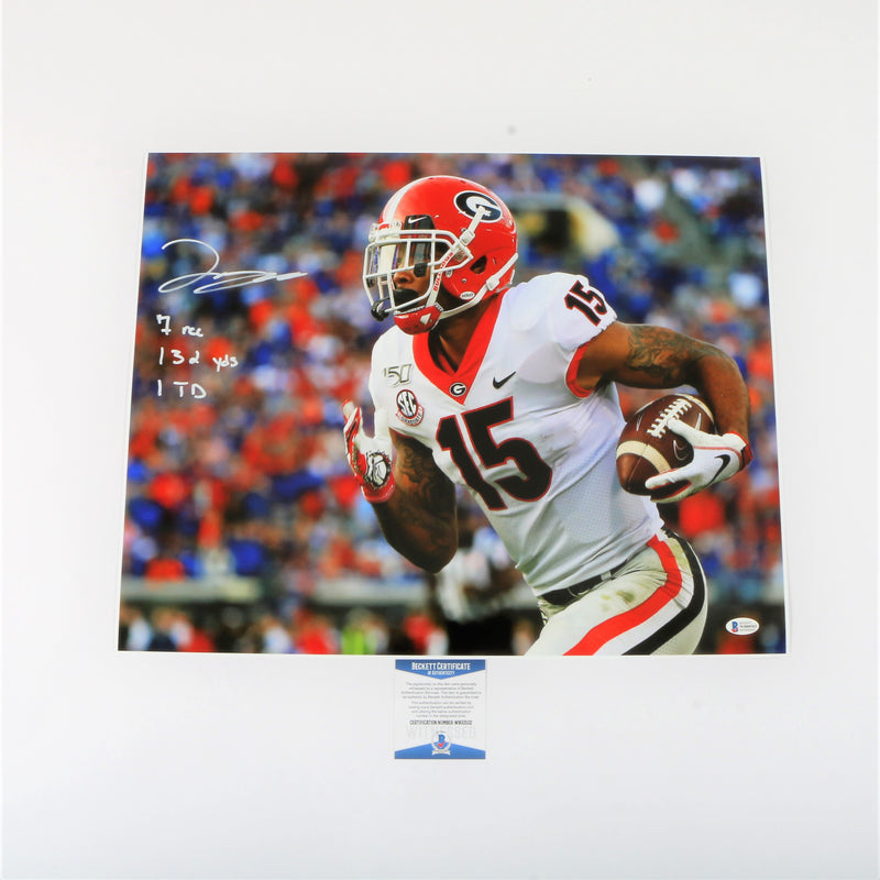 Lawrence Cager Signed 16x20 Photo Georgia Bulldogs Game Stats Inscribed
