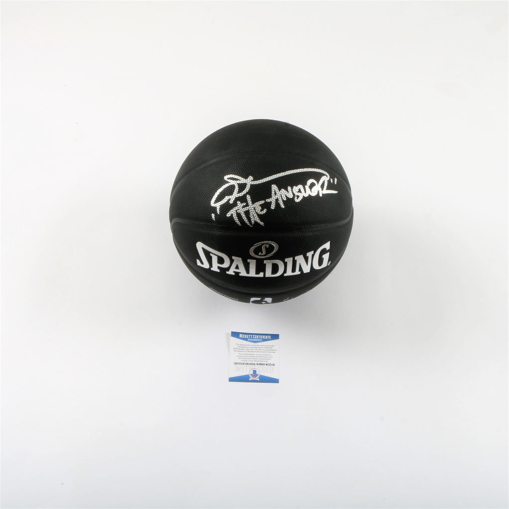 "Allen Iverson Signed Spalding Black Basketball ""The Answer"" Inscription"
