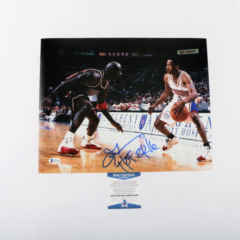 "Allen Iverson Signed 11""x14"" Photo Philadelphia 76ers with ""HOF 2016"" Inscription"