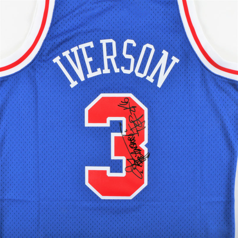"Allen Iverson Signed Philadelphia 76ers Jersey with ""The Answer"" & ""HOF 2016"" Inscription - Blue"