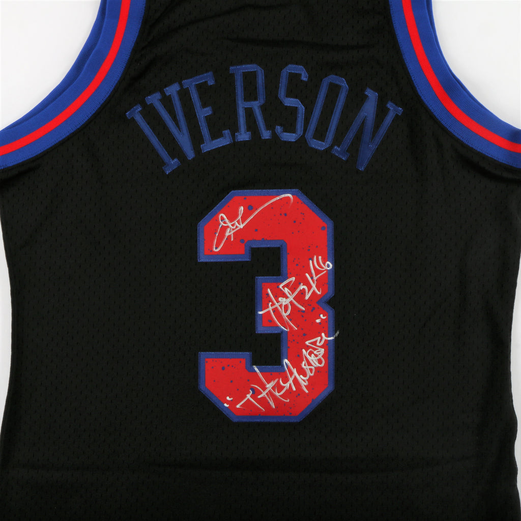 "Allen Iverson Signed Philadelphia 76ers Jersey with ""The Answer"" & ""HOF 2016"" Inscription - Black"
