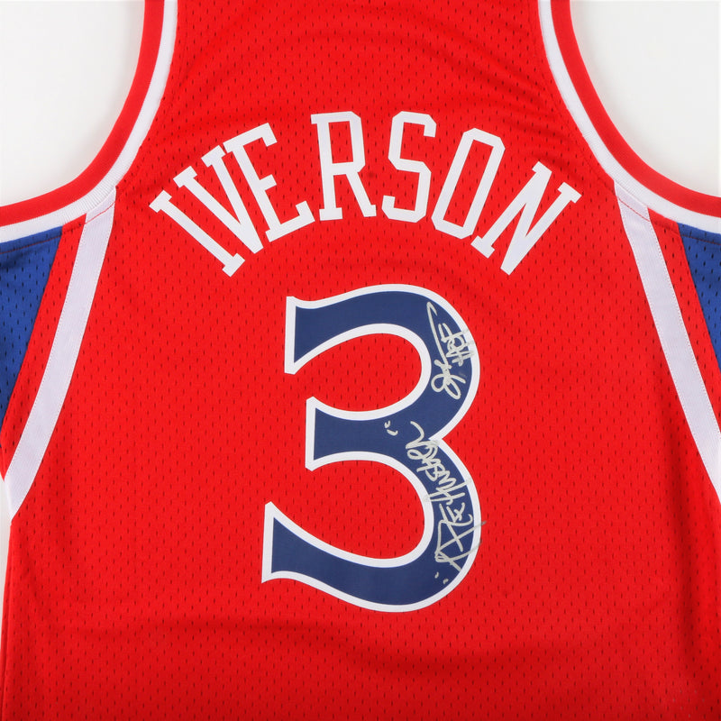 "Allen Iverson Signed Philadelphia 76ers Jersey with ""The Answer"" & ""HOF"" Inscription - Red"