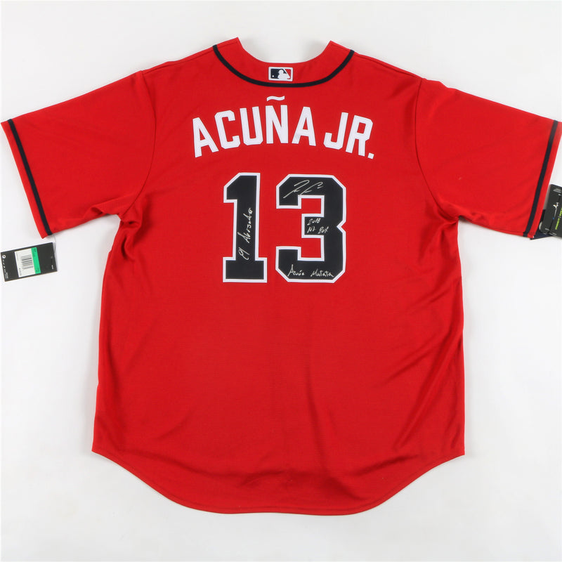 Ronald Acuna Jr. Signed Nike Atlanta Braves Jersey Multiple Inscriptions - Red