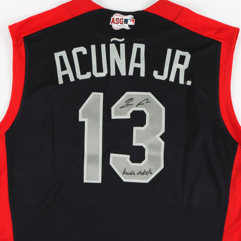 "Ronald Acuña Jr. Signed 2019 All-Star Game Jersey Atlanta Braves with ""Acuña Matata"" Inscription - Navy"
