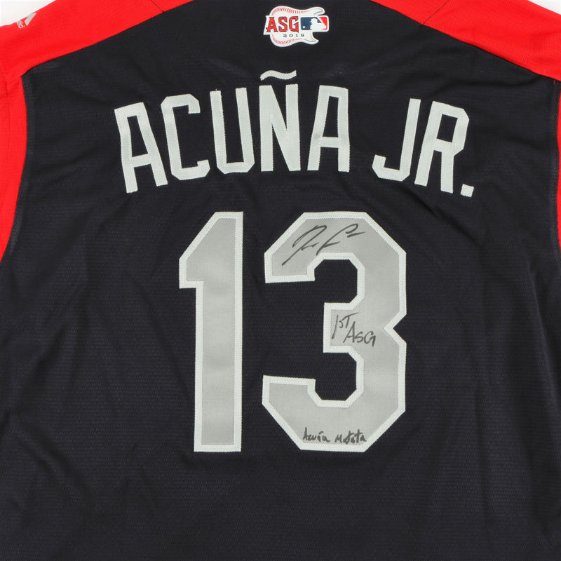 Ronald Acuña Jr. Signed 2019 All-Star Game Jersey Atlanta Braves Multiple Inscriptions - Navy