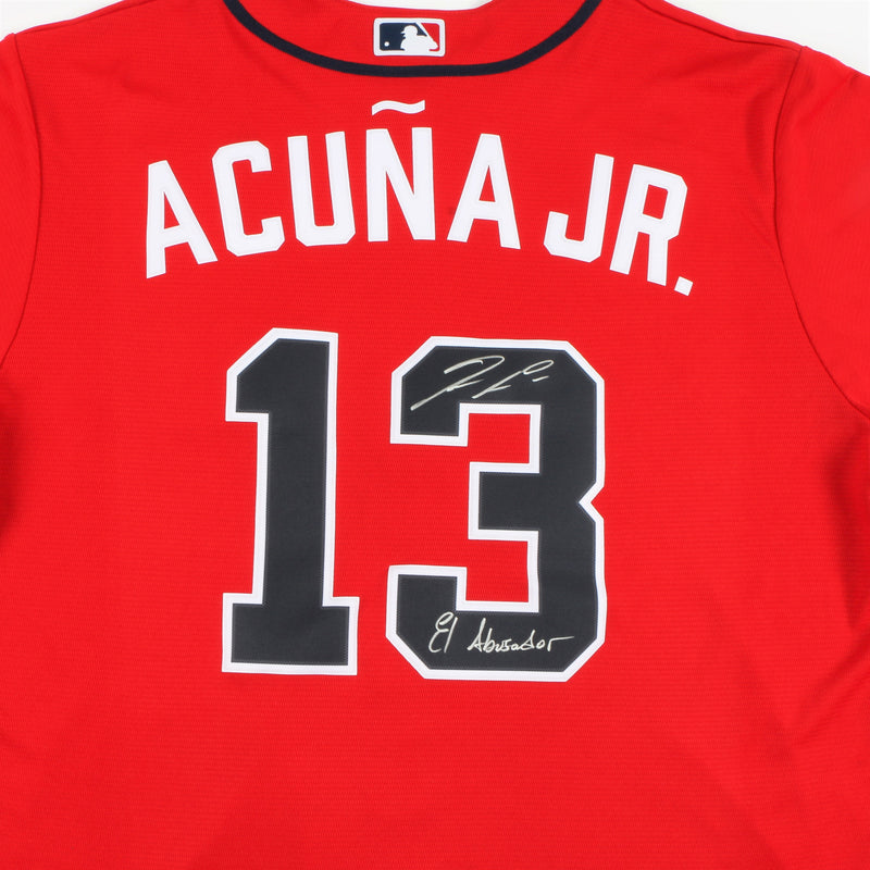 "Ronald Acuña Jr. Signed Nike Atlanta Braves Jersey with ""El Abusador"" Inscription - Red"