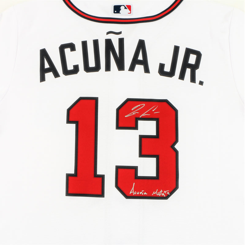 "Ronald Acuña Jr. Signed Nike Atlanta Braves Jersey with ""Acuña Matata"" Inscription - White"