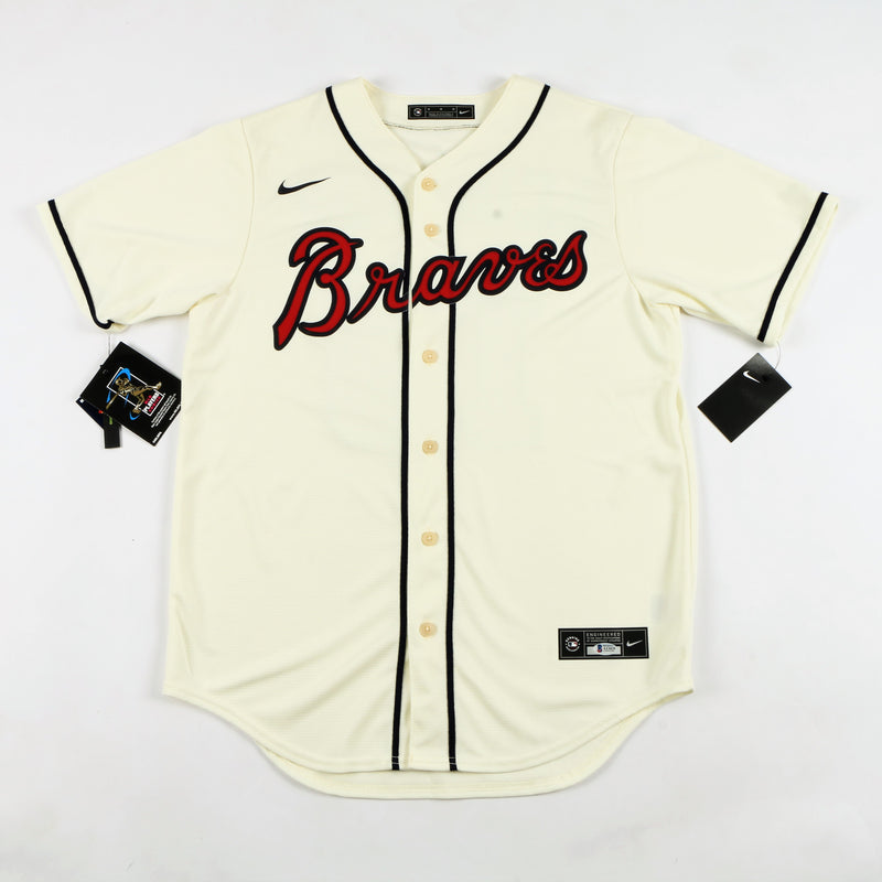 "Ronald Acuña Jr. Signed Nike Atlanta Braves Jersey with ""Acuña Matata"" Inscription - Cream"