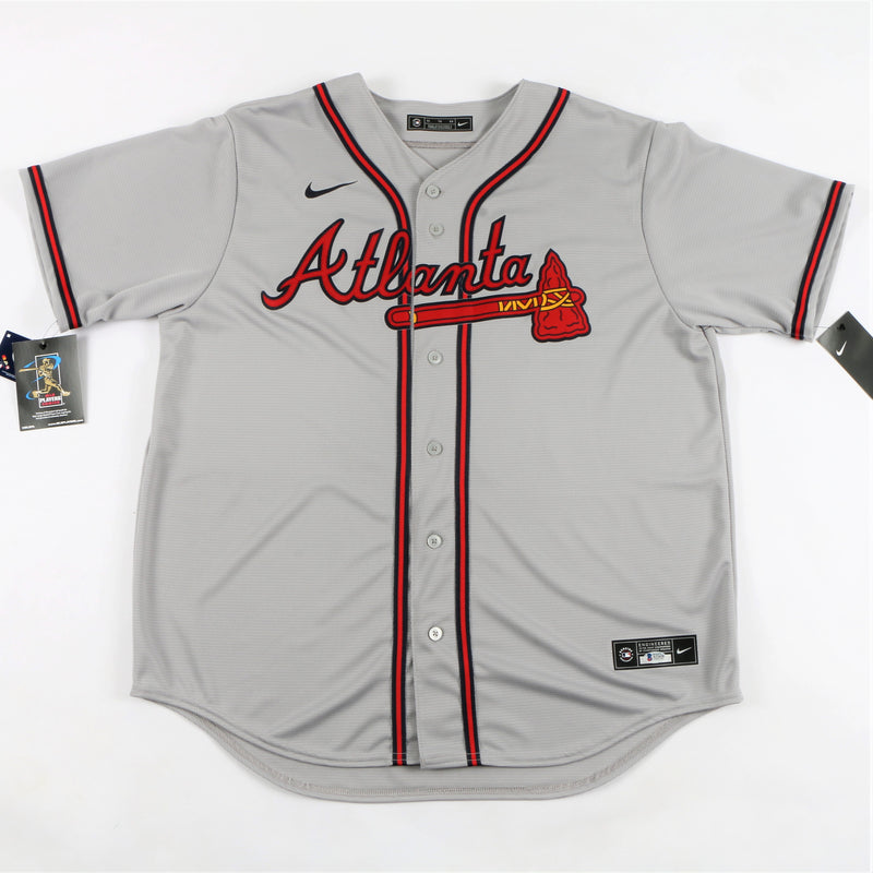 "Ronald Acuña Jr. Signed Nike Atlanta Braves Jersey with ""Acuña Matata"" Inscription - Grey"