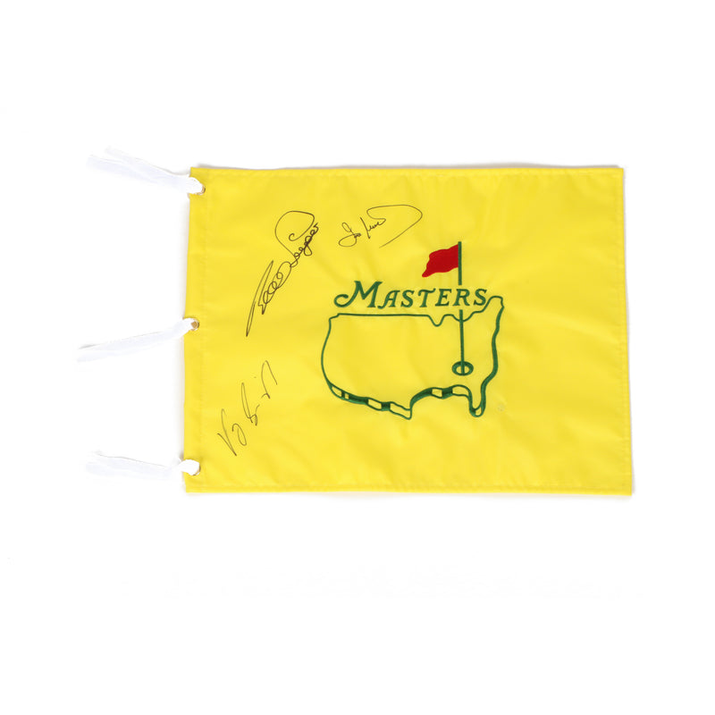 Masters Winner Flag Undated VJ Signh Ian Woosnam and Bernard Langer