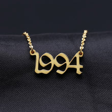 Load image into Gallery viewer, Old English Numbers Necklace