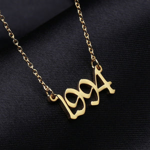 Old English Numbers Necklace