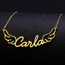 Load image into Gallery viewer, Personalized Name Angel Wings necklace