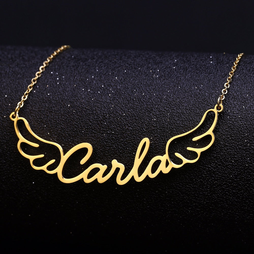 Personalized Name Angel Wings necklace
